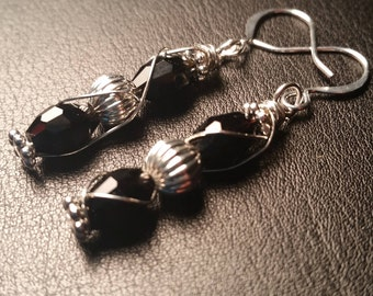 Black and Silver Wire Wrapped Drop Dangle Earrings