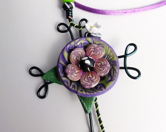 16 gauge Wire cross dark green with purple flowers by Marie Segal