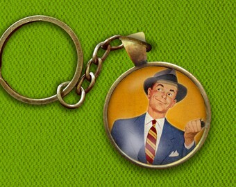 Retro 1950s Man's Fashion Style Pin, Magnet, Keychain, or Necklace