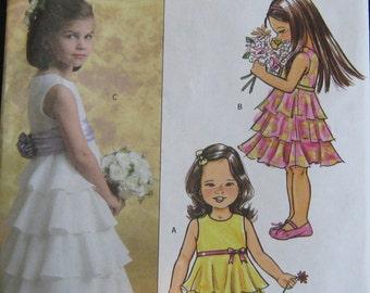 Girls dress pattern, special occasion girls' dress pattern in two lengths.  ruffled dress pattern for girls