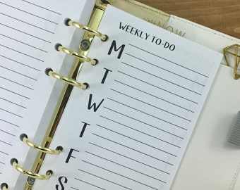 Personal Weekly To Do printed planner insert - weekly - week on one page - Wo1P - weekly tracker - Personal Wide