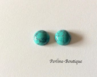 2 round 10mm turquoise cabochons