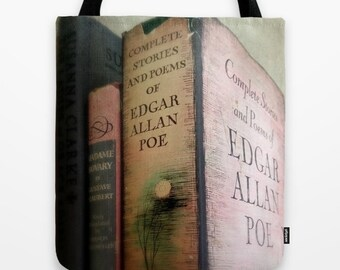 Pink Poe Tote Bag: Edgar Allan Poe, library, pink, gray, vintage books, librarian, gothic,