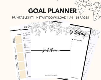 Goal Planner, Productivity Planner,  Printable Planner Pages, Weekly Schedule, A4 Planner, Undated Planner, Success