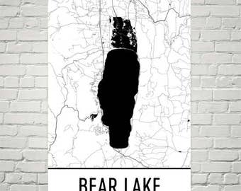 Bear Lake Idaho, Bear Lake Utah, Bear Lake Map, Utah Lakes Map, Lake Map, Idaho Lake Art, Bear Lake Art, Bear Lake UT, Utah Wall Art