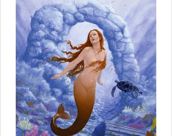 Fantasy Mermaid Portrait by award winning artist John Silver. Personally signed A4 or A3 size Print. FA004SP