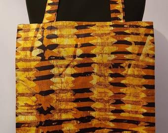 Gold African Print Tote Bag