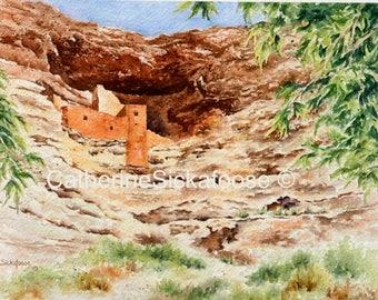 Indian ruins, Sinagua, Montezuma Castle, Arizona, Native Americans, brown, green, watercolor painting, giclée