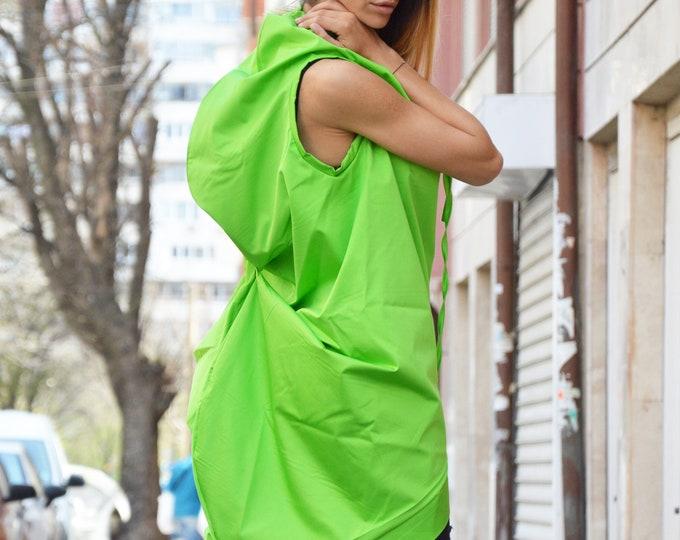 Plus Size Zipper Green Tunic, Asymmetric Cotton Sleeveless Top, Extravagant Maxi Dress, Maxi Casual VestTop by SSDfashion