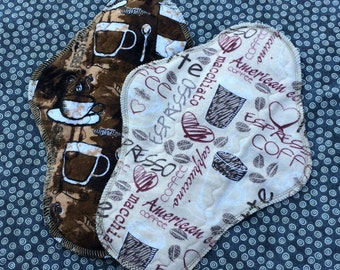 "Coffee, 10"" Moderate Waterproof Reusable Cloth Mama Pads, Other Sizes Available Upon Request"
