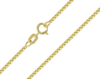 "14K Solid Yellow Gold Box Necklace Chain 1.0mm 16-24"" - Polished Link"