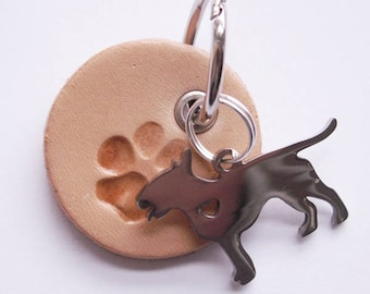 "Beige Key Ring ""dog paw with Bull terrier"""