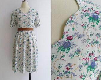 Vintage 40's Cream Scallop Neck Blue Floral Print Rayon Crepe Dress M or L