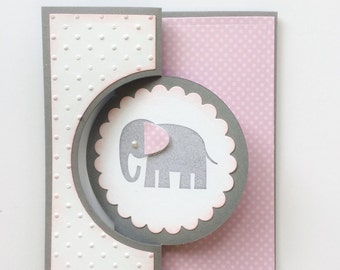 Baby Girl Shower Card, Welcome Baby Girl Card, Baby Girl Elephant Flip It Card, Baby Girl Card, Welcome Baby Card