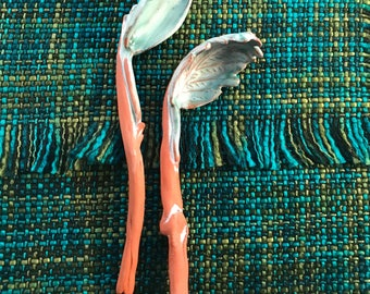Ceramic Spoons - decorative - nature inspired gifts - sculpture - flower spoons - leaf spoons