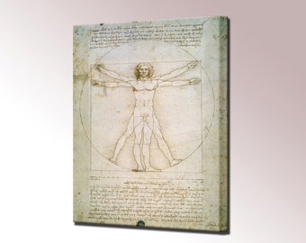 Vitruvian Man or Proportions of Human Figure by Leonardo da Vinci Canvas Print Canvas Art Print Ready to Hang