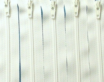 Five 28 Inch White Zippers YKK Color 501