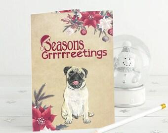 Dog Christmas Card, Pug Card, Pug Christmas, Funny Dog Card, Pet Card, Dog Lover Card, Dog Holiday Card, Christmas Pug
