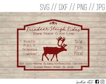 Reindeer Sleigh Rides Digital Art File (svg, dxf, png, jpeg)