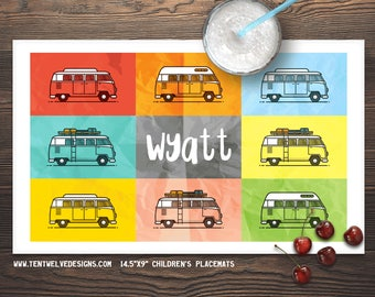 CAMPER VAN Personalized Placemat for Kids - Children's Placemat, Personalized Kid's Gift, Fast Shipping - colorful, VW Bug, peace, travel