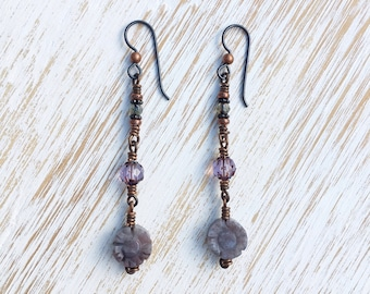 Flower Earrings, Long Earrings, Jasper Earrings, Boho Jewelry, Boho Earrings, Gemstone Earrings, Boho Chic, Hypoallergenic Earrings, Niobium