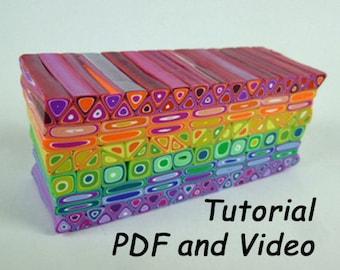 Polymer Clay Tutorial, Mondo Rainbow Cane, Retro Cane, Polymer Clay Cane, Polymer Clay Class, Polymer Clay Course PDF and Video