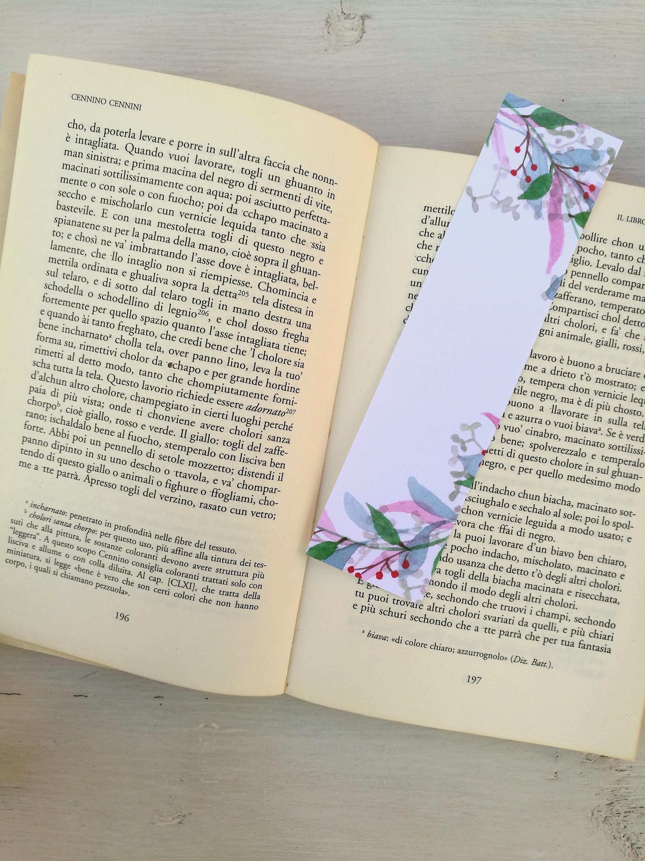 Bookmark printed leaves wreaths, watercolor, paper bookmarks, custom ...