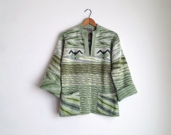 space dye sweater womens 70s sweater vintage pullover sweater 1970s clothing space dyed green aztec sweater