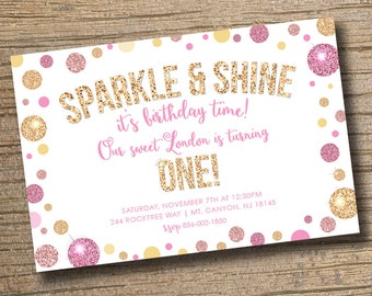 PRINTABLE Sparkle and Shine First Birthday Invitation with Picture - 1st Birthday Invitation - Girls Birthday Party Sparkle & Shine Birthday