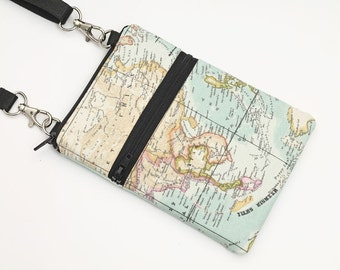 Samsung Galaxy S8 Crossbody, iPhone 7 Plus Zipper Sling Bag, Smartphone Purse, Cell Phone Purse, Small Cross Body Bag - vintage world map