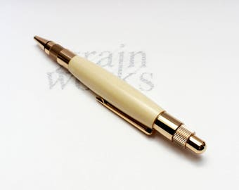 Wooden Ballpoint Pen - Stratus Style - American Holly with 24K Gold Accents (Gift Ready)