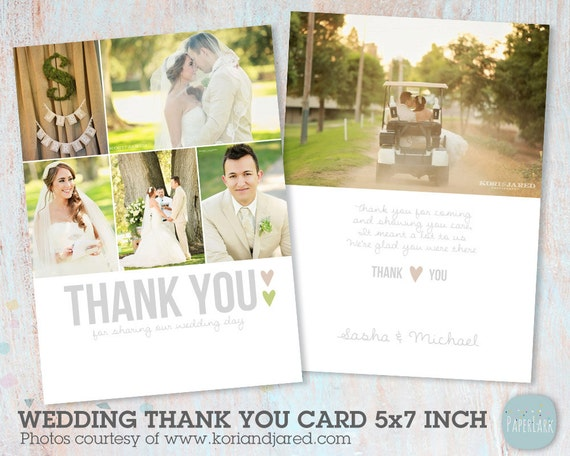 Wedding Thank You Card Photoshop template AW002 INSTANT