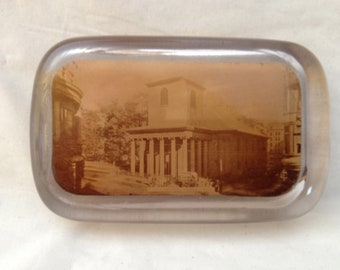 1900-1910 Sepia Photo Paperweight ~ King's Chapel Boston ~ Vintage Glass Paperweight