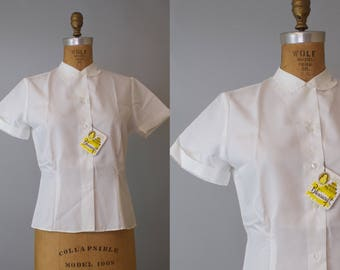 Book Club Blouse / Vintage 1960s White Blouse / 60s White Blouse 38