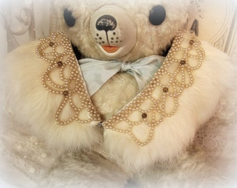 luXe vintage beaded fur collar rabbit fur peter pan collar hand beaded champagne pearls hook and eye close made in japan