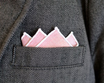 Men's Pocket Square in Red Oxford Cotton - handkerchief wedding groomsmen suit pink
