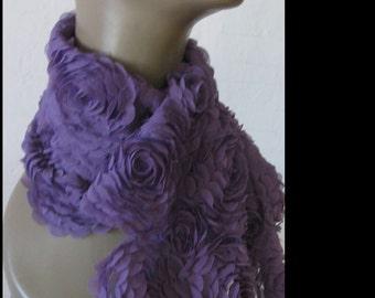 Silk Blend 3-Floral  Scarf - Purple