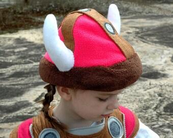 Viking Helmet - PINK and BROWN -  Kid Costume, Adventure Gear