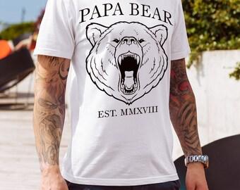 New Dad Shirt, Papa Bear Shirt, Est 2018, Fathers Day Shirt, Gifts For Dad, Gift For New Dad, New Dad Gift, Papa Bear T Shirt