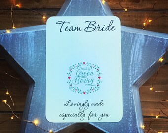 Team Bride quote card with choice of charm madebygreenberry wish bracelet