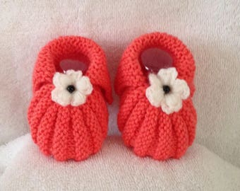 Slippers maguerite 0/3 months pink coral