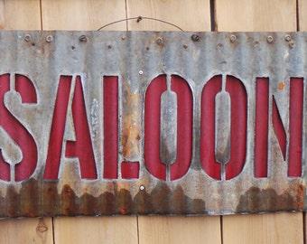 SALOON Corrugated Metal Sign FREE SHIPPING