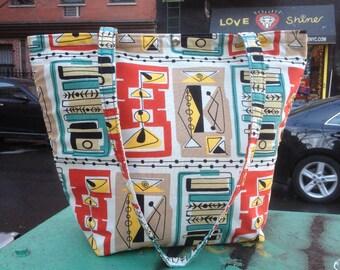 Retro 50's Style Cotton Martini Print Tote Bag, Classic Tote Market Bag