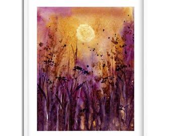 Evening Meadow / Watercolor Landscape / Digital Art Print / Wall Art / Instant Download Print