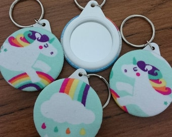 Unicorn Rainbow fabric Keyring Mirror 45mm unique gift present stocking filler