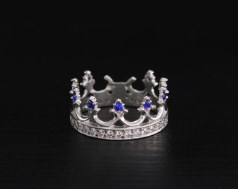 Crown engagement ring, Sterling silver crown ring, Women crown ring, Princess ring, Crown wedding band, Crown ring, Women wedding ring