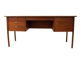 Mid-Century Desk Danish Modern Arne Vodder Style Teak Desk