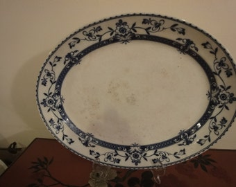 Chinese Very Large Charger/oval platter in blue & white  dia 37cm L x 30cm Width