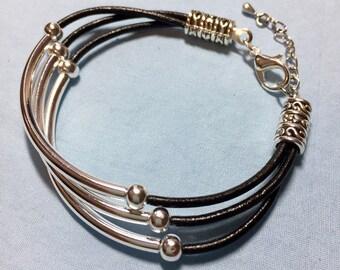 Cuff Bracelet Boho Leather Tube Bead Bracelet Beaded Silver Bracelet Custom Bracelet Multi Strand Leather Gift for Her Girlfriend Gift (Ad)