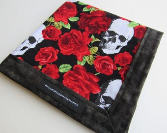 Skulls and Roses EDC Hank Handmade Hank Everyday Carry Pocket Dump Hank Mens Handkerchief Gift for Him Gift for Her Valentine Hank